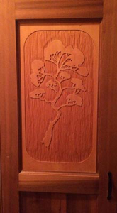 Rubus Woodworks hand carved cedar door