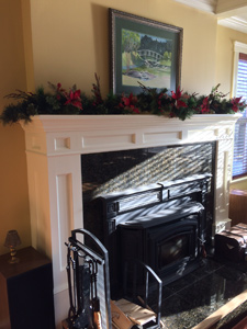 Rubus Woodworks Mantle with metal inlay